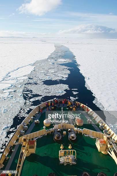 Icebreaker ship in ocean