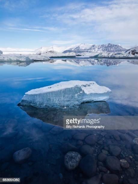 Iceburg and mountains, Jokulsarlon Glacier Lagoon, Iceland