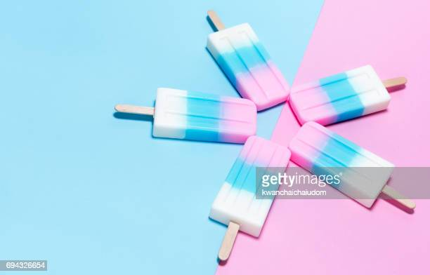 ice-cream on pink and blue background