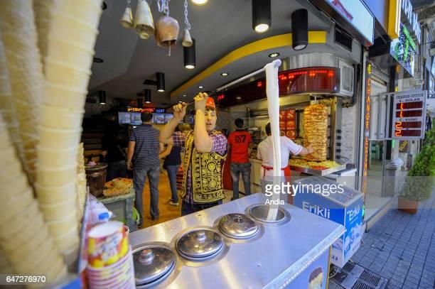 Icecream vendor Istiklal avenue in Istanbul