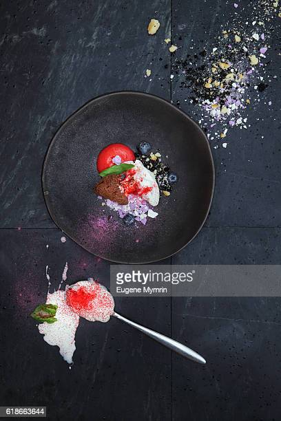 Ice-cream with fresh berries and meringue
