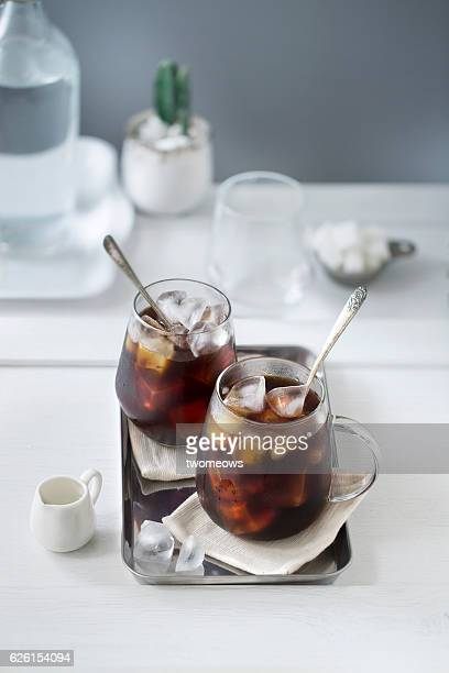 iced black coffee. - iced coffee stock pictures, royalty-free photos & images