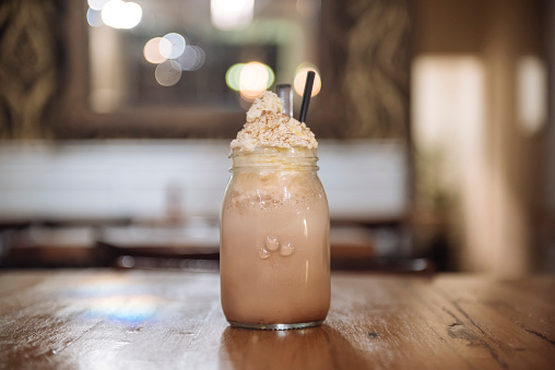 Iced Chocolate drink served in Mason Jar - gettyimageskorea