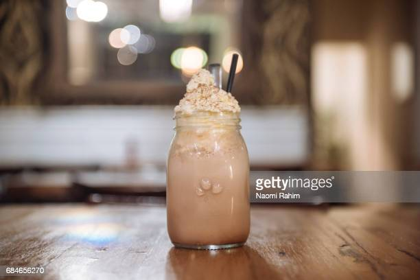 Iced Chocolate drink served in Mason Jar
