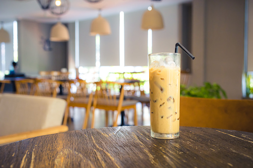 iced coffee on a table inside cafe during day  . - gettyimageskorea