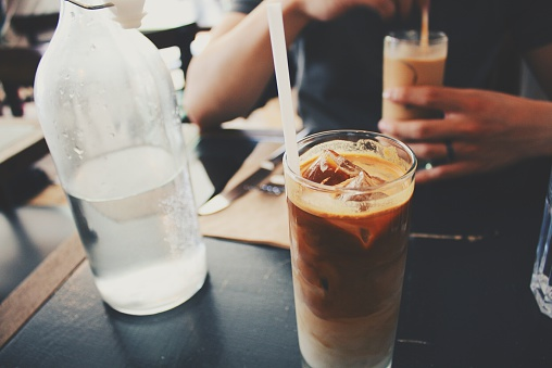 Iced coffee on cafe table - gettyimageskorea