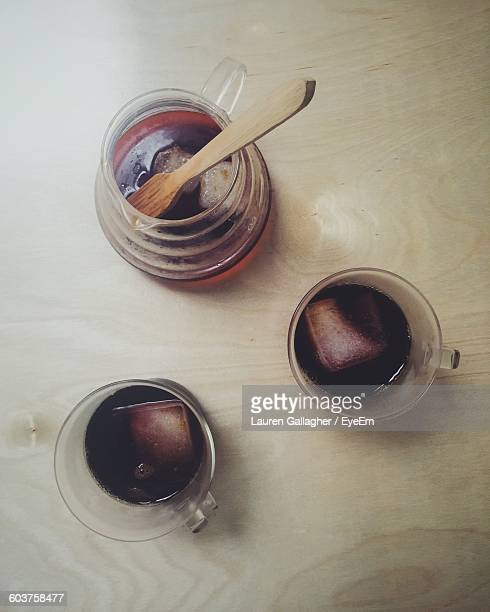 Iced Coffee On Wooden Table