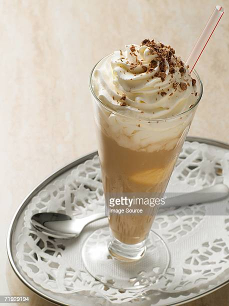 iced coffee - doilie stock photos and pictures