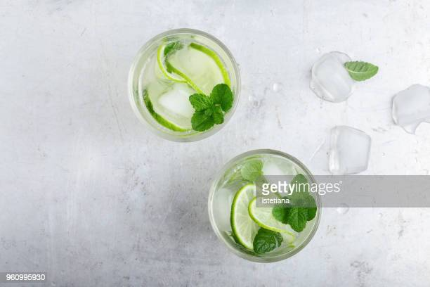 iced cold lemonade with fresh lime and juice - cocktail stock pictures, royalty-free photos & images