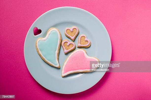 Iced, heart-shaped biscuits for Valentine's Day
