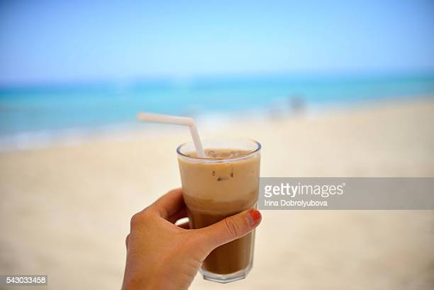 iced latte at the beach