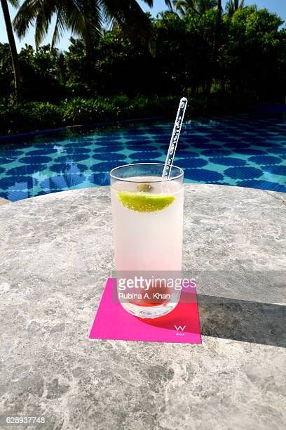 Iced lemonade by the pool at the newlyopened W Goa the first W hotel in India on December 10 2016 in Goa India