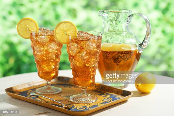iced tea with pitcher - sweet food stock pictures, royalty-free photos & images