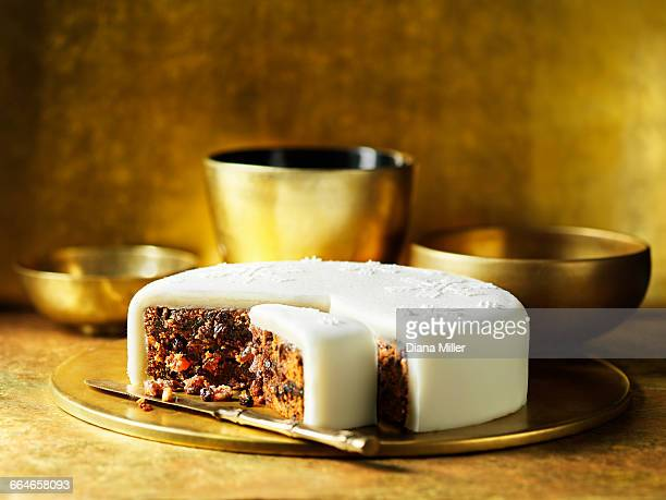 Iced traditional fruit christmas cake