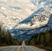 Icefields parkway road to the clouds