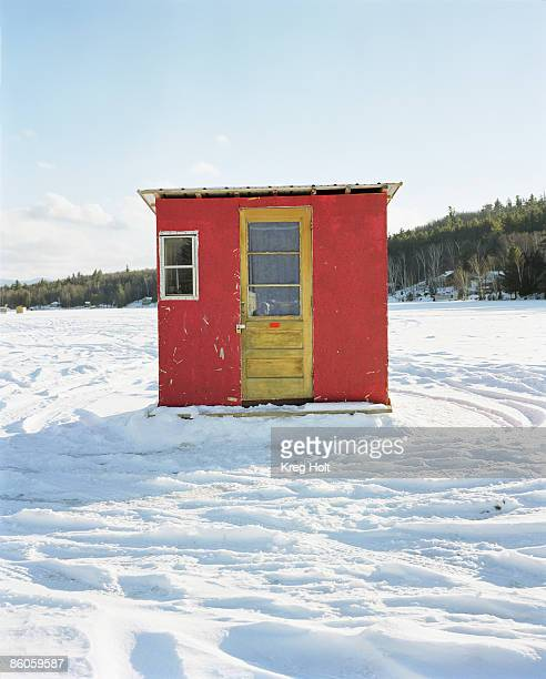 Ice-fishing shed in winter