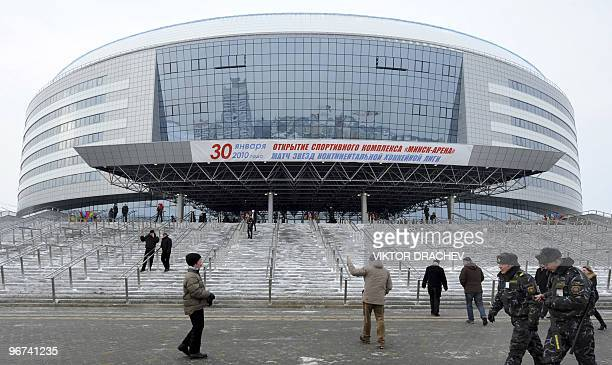 Icehockey fans stand outside the newly built Minsk arena before the Russian open Continental Hockey League allstar icehockey match in Minsk on...