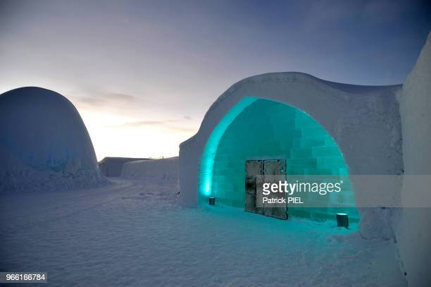 Icehotel, entrée, le 29 janvier 2016, Kiruna, Suède.