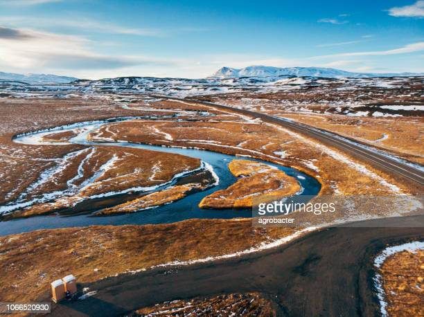 iceland aerial view landscape with snow and clouds - helicopter photos stock pictures, royalty-free photos & images