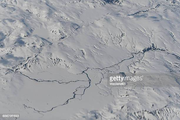Iceland, aerial view, river and snow, landscape