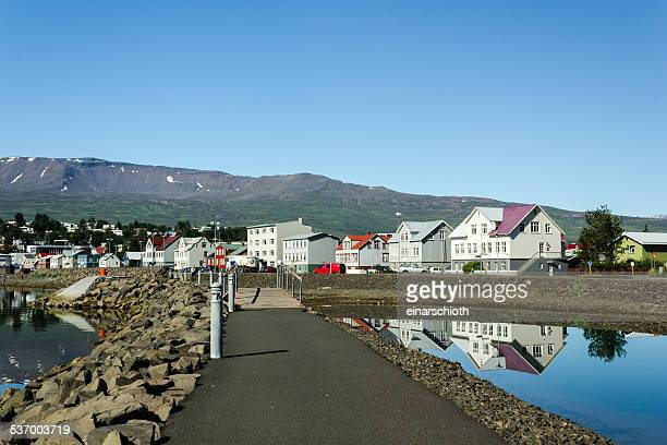 Iceland, Akureyri, View of village in mountains