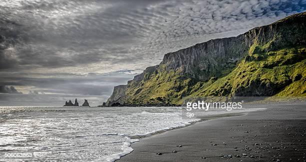 Iceland beach with a cloudy sky