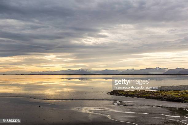 Iceland, black sand shore near Vestrahorn