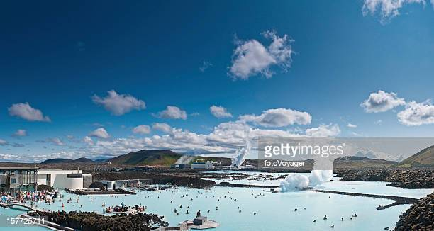 Iceland Blue Lagoon geothermal steam bathers Reykjavik
