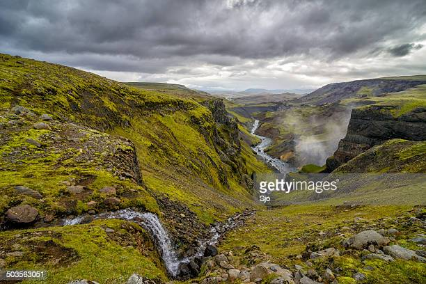 iceland canyon with the fossa river - fossa stock photos and pictures
