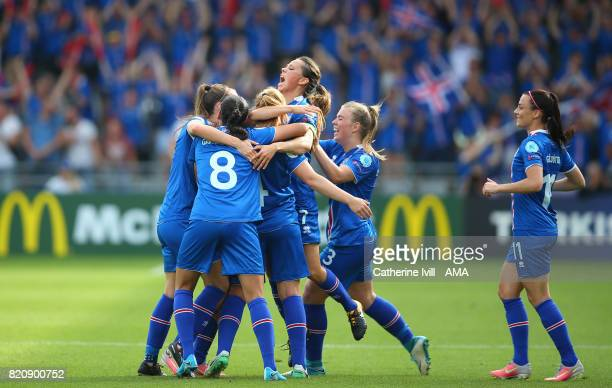 Iceland celebrate after Fanndis Fridriksdottir of Iceland Women scores a goal to make it 10 during the UEFA Women's Euro 2017 match between Iceland...