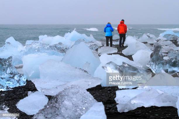 Iceland, chunks of ice on the shore of Jokussarlon