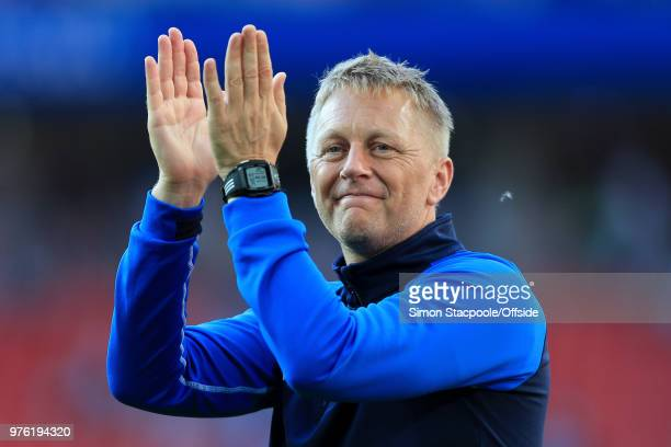 Iceland coach Heimir Hallgrimsson applauds the support after the 2018 FIFA World Cup Russia Group D match between Argentina and Iceland at Spartak...