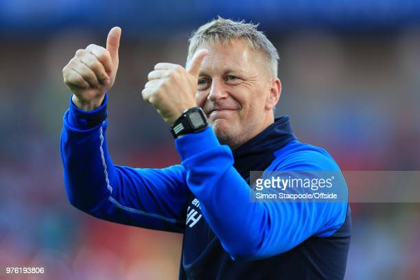 Iceland coach Heimir Hallgrimsson gives the thumbs up after the 2018 FIFA World Cup Russia Group D match between Argentina and Iceland at Spartak...