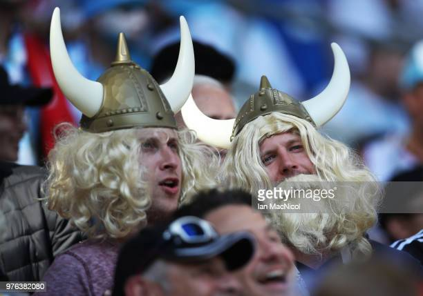 Iceland fans are seen during the 2018 FIFA World Cup Russia group D match between Argentina and Iceland at Spartak Stadium on June 16 2018 in Moscow...