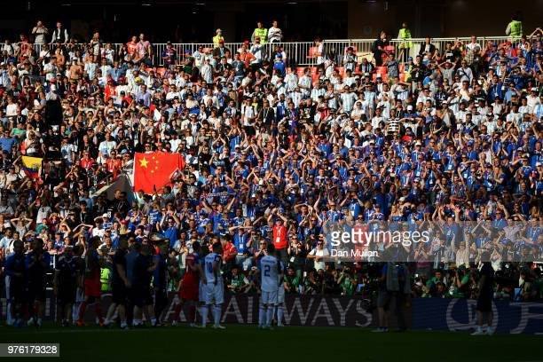 iceland fans celebrate with players following the 2018 FIFA World Cup Russia group D match between Argentina and Iceland at Spartak Stadium on June...