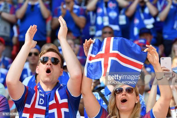 Iceland fans cheer before the Russia 2018 World Cup Group D football match between Argentina and Iceland at the Spartak Stadium in Moscow on June 16...
