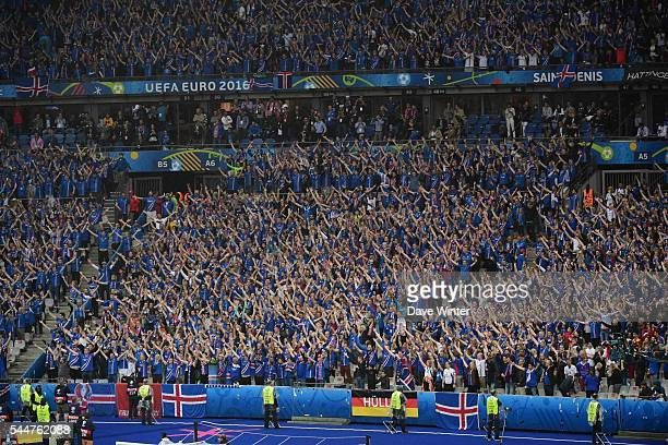 Iceland fans during the UEFA Euro 2016 Quarter Final between France and Iceland at Stade de France on July 3, 2016 in Paris, France.