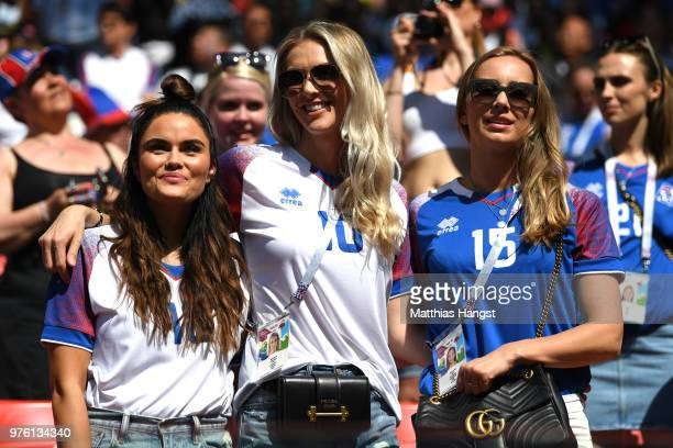 Iceland fans enjoy the pre match atmosphere prior to the 2018 FIFA World Cup Russia group D match between Argentina and Iceland at Spartak Stadium on...