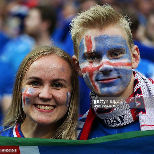 Iceland fans look on during the UEFA Euro 2016 Quarter Final match between France and Iceland at Stade de France on July 03 2016 in Paris France