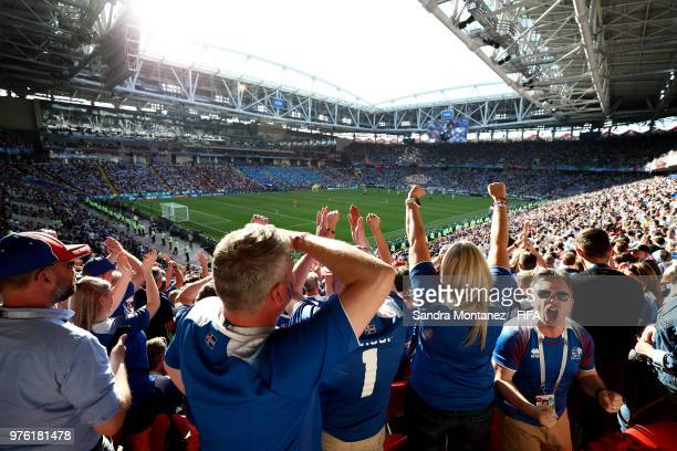 Iceland fans react during the 2018 FIFA World Cup Russia group D match between Argentina and Iceland at Spartak Stadium on June 16 2018 in Moscow...