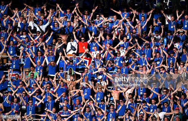 Iceland fans show their support during the 2018 FIFA World Cup Russia group D match between Nigeria and Iceland at Volgograd Arena on June 22 2018 in...