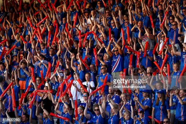 Iceland fans show their support during the Group C match between France and Iceland during the UEFA Women's Euro 2017 at Koning Willem II Stadium on...