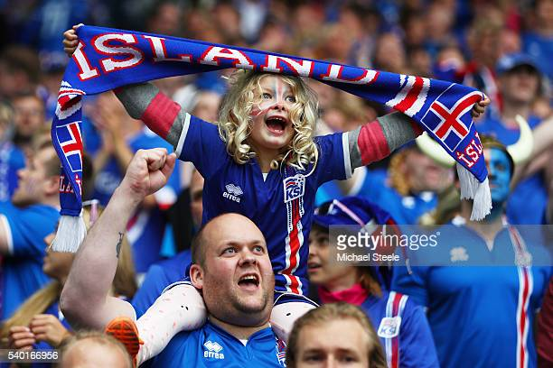 Iceland fans show their support prior to the UEFA EURO 2016 Group F match between Portugal and Iceland at Stade GeoffroyGuichard on June 14 2016 in...