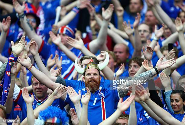 Iceland fans show their support prior to the UEFA EURO 2016 quarter final match between France and Iceland at Stade de France on July 3 2016 in Paris...