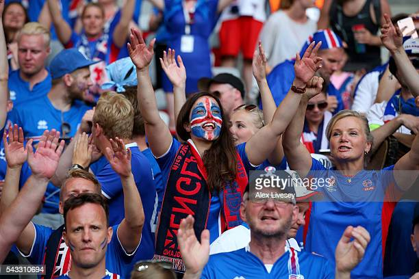 Iceland fans show their support prior to the UEFA EURO 2016 round of 16 match between England and Iceland at Allianz Riviera Stadium on June 27 2016...