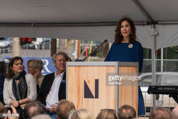Iceland First Lady Eliza Reid and Nordic Museum Executive Director Eric Nelson watch as Her Royal Highness the Crown Princess Mary of Denmark speaks...