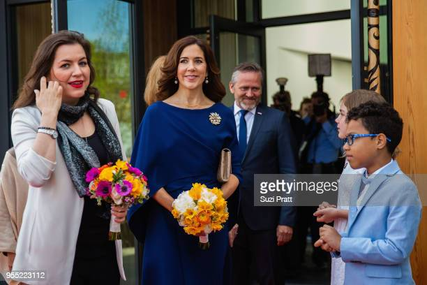 Iceland First Lady Eliza Reid Her Royal Highness the Crown Princess Mary of Denmark and Minister of Foreign Affairs of Denmark Anders Samuelsen exit...