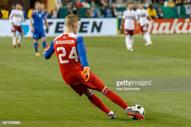 Iceland Goalkeeper Runar Alex Runarsson goal kicks down field during the second half of the international match between Mexico and Iceland on Friday...
