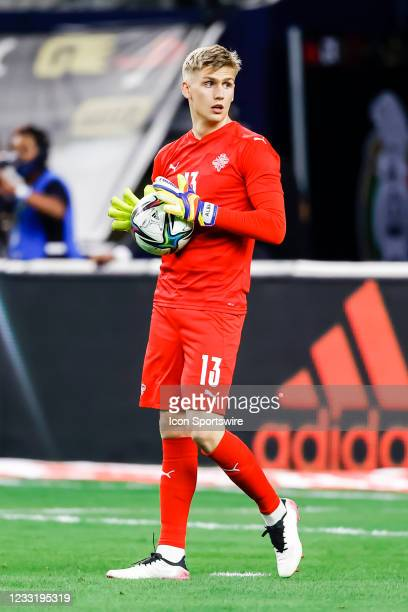 Iceland goalkeeper Runar Alex Runarsson looks for his teammates during the game between Mexico and Iceland on May 29, 2021 at AT&T Stadium in...