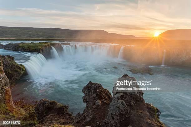 Iceland, Godafoss at sunset